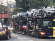 Range Rovers and Jaguars crashed in Scotland