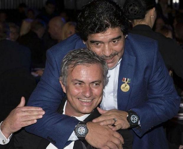 Diego Maradona and Jose Mourinho