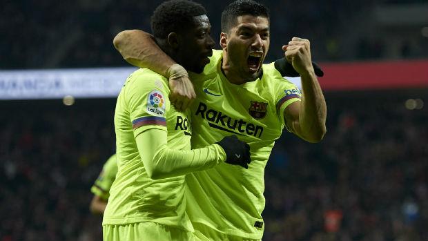 Ousmane Dembele against Atletico Madrid