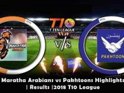 Maratha Arabians vs Pakhtoons Highlights   Results  2018 T10 League