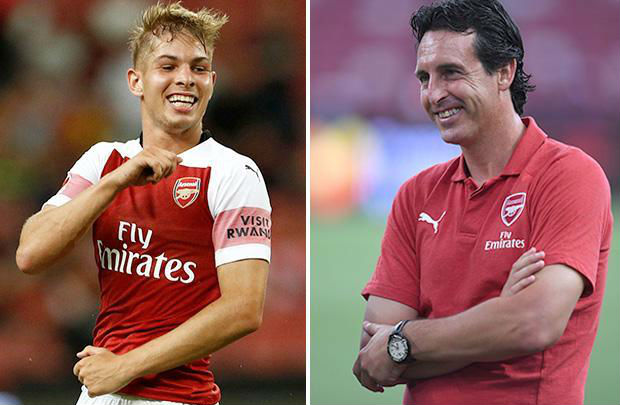 Emile Smith Rowe and Unai Emery