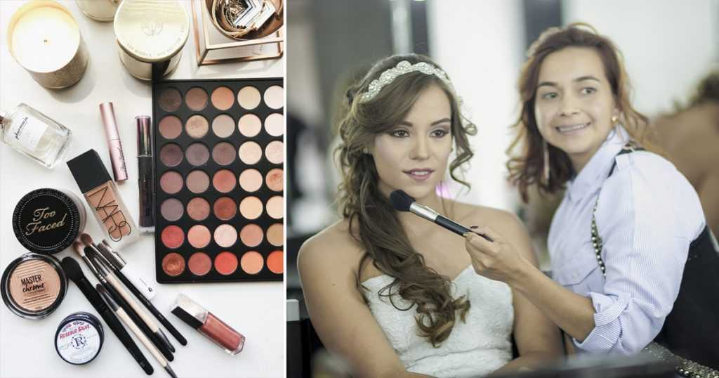 Cheap bride has her makeup done during a trial session