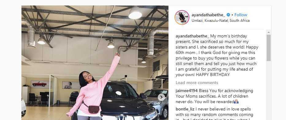 Ayanda Thabethe spoils her mom with a new car.